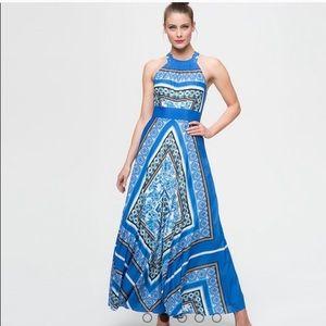 Eliza J Scarf Print Halter Crepe Maxi Dress A6